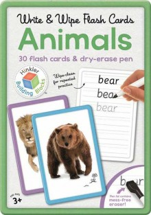 Write & Wipe Flash Cards ANIMALS in Tin Box (30 Flash Cards & Dry-Erase Pen)