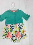 Bodysuit Dress Carter's Flower Short Sleeve and Green Cardigan Set