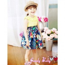Candy Baby - Dress Yellow Navy Blue
