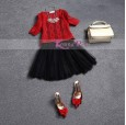 Korea Pink - Dress Hitam Merah Renda M9796