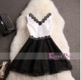 Korea Pink - Elegant Dress Black White