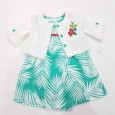 Bodysuit Dress Carter's Green Short Sleeve and White Cardigan Set