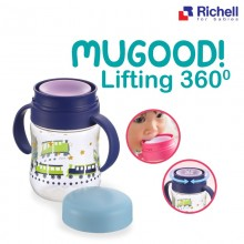 Richell - Mugood Full Rotated Drinkable Cup 200ml - BLUE TRAIN