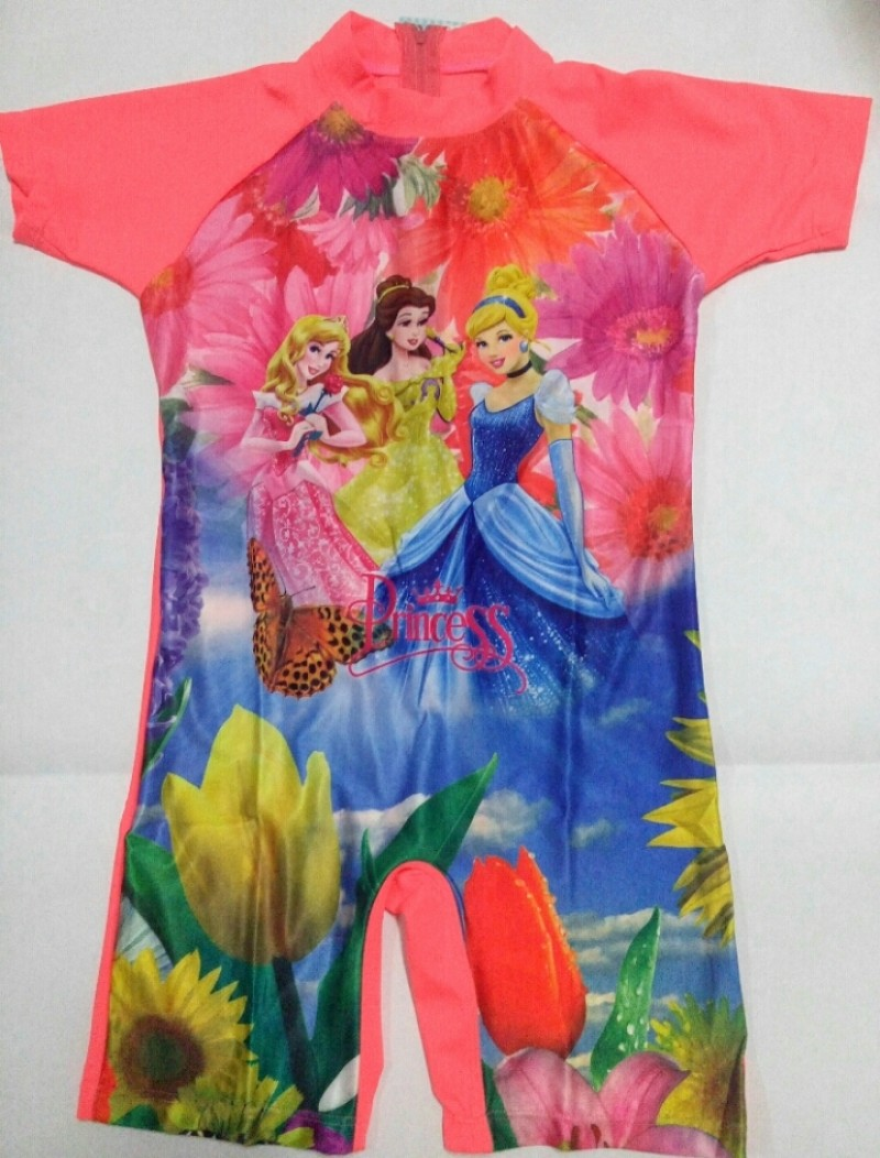 Baju Renang SD - 3 Princess Bright Orange (7-9thn)