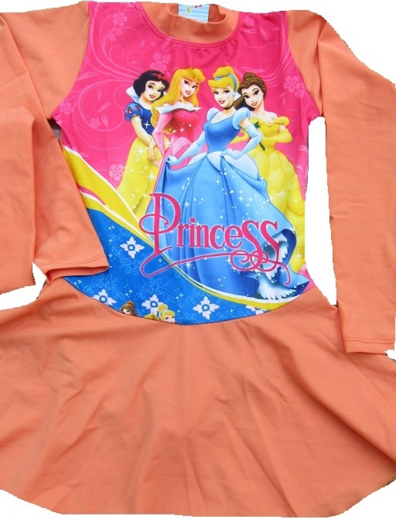 Baju Renang Muslim SD - Princess Light Orange (sz 7-9thn)