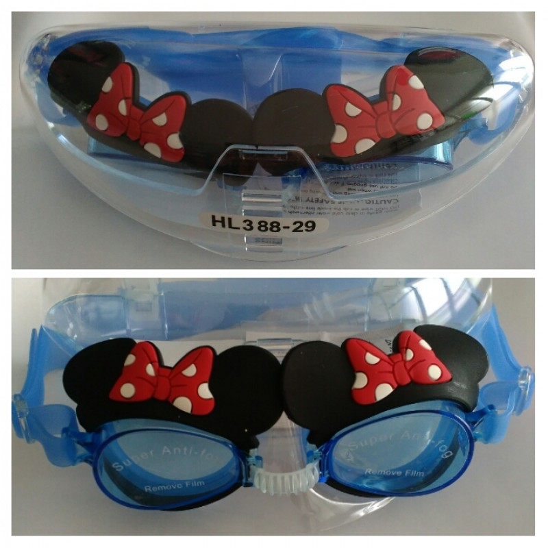 Kacamata Renang Anak Karakter Super Anti-Fog Minnie Blue