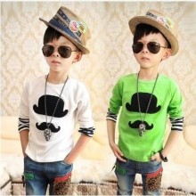 Fashion - White And Green Moustache Shirt